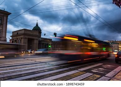 ST. PETERSBURG, RUSSIA - JULY 13, 2016: Kazanskiy Cathedral in Saint Petersburg in Russia, long exposure at night