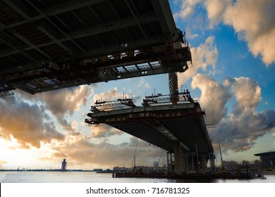 ST. PETERSBURG, RUSSIA - JULY 13, 2016: construction bridge crossing, This toll highway will connect the southwest of city with the Ring Road