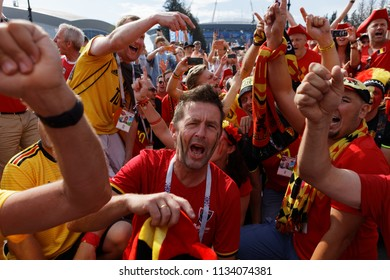 ST. PETERSBURG, RUSSIA - JULY 14, 2018: Belgian football fans  at Saint-Petersburg stadium before the match for 3rd place of FIFA World Cup Russia 2018 England vs Belgium. Belgium won 2-0