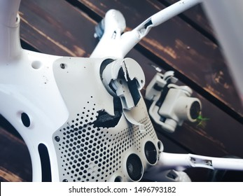 St Petersburg, Russia - July 14, 2019: DJI Phantom 4 Pro V2.0 Drone in need of Repair after Accidental Drone Falls