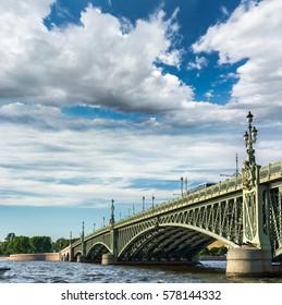 ST. PETERSBURG, RUSSIA - JULY 14, 2016: Trinity Bridge (Troitsky bridge) over the Neva river in Saint Petersburg, Russia
