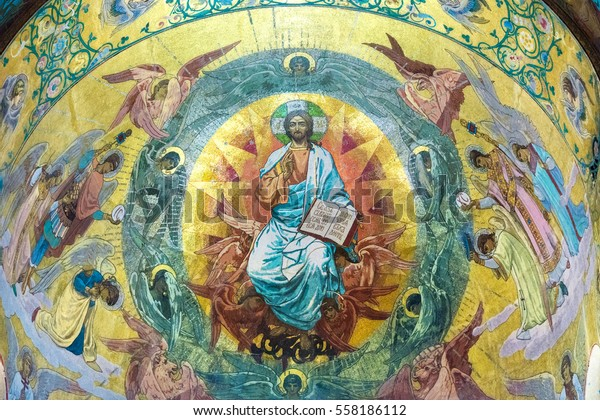 ST. PETERSBURG, RUSSIA - JULY 14, 2016: Interior of Church of the Savior on Spilled Blood. Mosaic above the central iconostasis . Church contains over 7500 square meters of mosaics.
