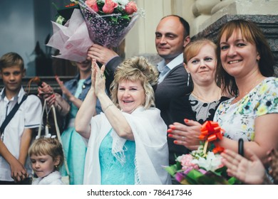 ST PETERSBURG, RUSSIA - JULY 15, 2017: Wedding Event. Wedding Couple Bride and Groom with Friends and Relatives in the Wedding Palace during the Wedding Ceremony