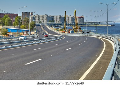 St. Petersburg, Russia - July 19, 2018: The Makarov Embankment at the intersection with the Western Speed Diameter of St. Petersburg.