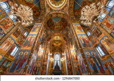 St. Petersburg, Russia - July 2, 2018: Interior of the Church of the Savior on Spilled Blood in St. Petersburg, Russia