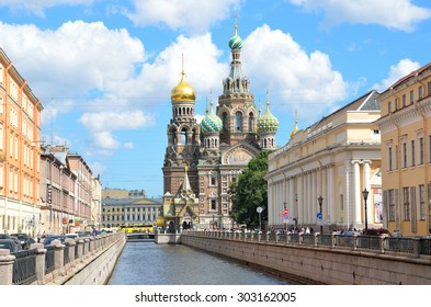 St. Petersburg, Russia, July, 20, 2014. People walking near the Cathedral of the Savior on blood in St. Petersburg