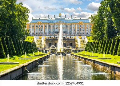 St. Petersburg, Russia - July 2018: Grand Cascade of Peterhof Palace, Samson fountain and fountain alley