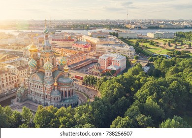 St. Petersburg, Russia, July 21, 2017: Top view of the Church of the Savior on Spilled Blood in the sunlight, Saint Petersburg, Russia