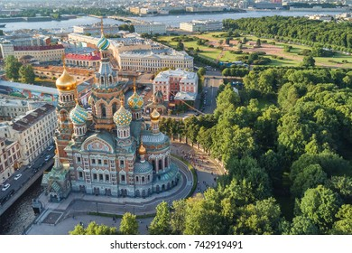 St. Petersburg, Russia, July 21, 2017: Church of the Savior on Spilled Blood in Saint Petersburg, Russia, top view