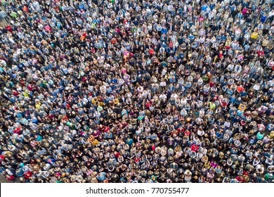 St. Petersburg, Russia, July 21, 2017: View from the height of the crowd of people at a concert
