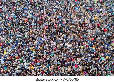 St. Petersburg, Russia, July 21, 2017: View from the drone of the crowd of people at a concert