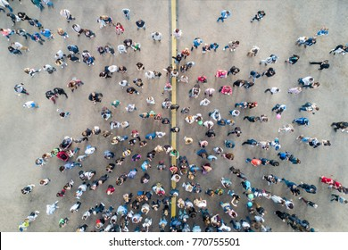 St. Petersburg, Russia, July 21, 2017: View from the drone of the crowd of people on the asphalt