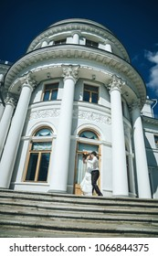 ST PETERSBURG, RUSSIA - JULY 24, 2014: Wedding Event. Wedding Couple Bride and Groom on Wedding Walk