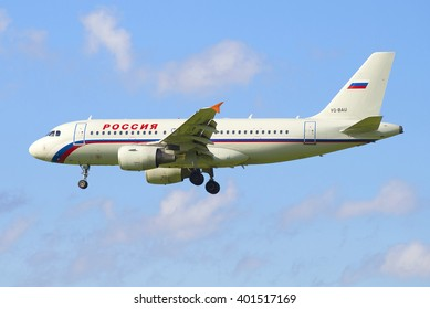 """ST. PETERSBURG, RUSSIA - JULY 24, 2015: View profile in an airplane Airbus A319-111 (VQ-BAU) """"Russia"""" airlines"""
