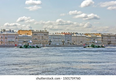 ST. PETERSBURG, RUSSIA - JULY 25, 2019: Photo of Artillery boats AK-248 of the project 1204 of the Caspian flotilla. Final rehearsal of the Navy Day parade.