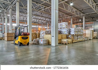 St. Petersburg, Russia - July 27, 2017: Goods stored in bonded warehouse of general type shall be exempted from imported taxes and duties upon exportation, transferring to other customs warehouses.