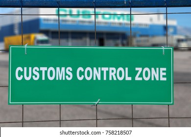 St. Petersburg, Russia - July 27, 2017: White inscription on a green background, customs control zone, in front of a logistics terminal with warehouse storage and customs clearance services.
