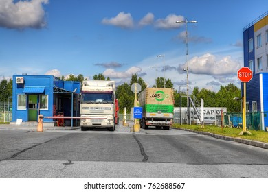St. Petersburg, Russia - July 27, 2017: Two trucks stand at the security checkpoint.