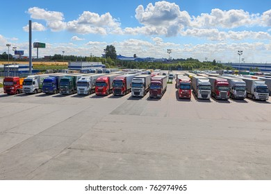 St. Petersburg, Russia - July 27, 2017: Truck fleet of trucks, a lot of trucks parked in the courtyard of the logistics park.