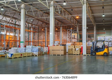 St. Petersburg, Russia - July 27, 2017: Custom Bonded Warehouse, storage and logistics, temporary storage warehouse space, floor storage zone, goods under customs control.