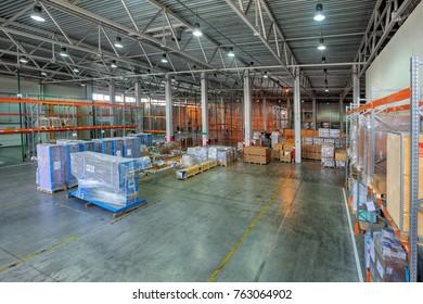 St. Petersburg, Russia - July 27, 2017: Custom Bonded Warehousing and Storage, temporary storage warehouse space, floor storage zone, goods under customs control.