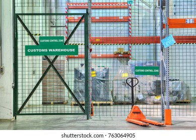 St. Petersburg, Russia - July 27, 2017: Custom bonded warehousing, customs control area in the temporary storage warehouse.