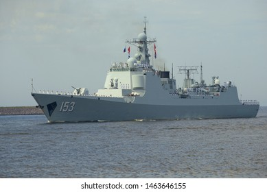 ST. PETERSBURG, RUSSIA - JULY 28, 2019: Theу destroyer of the Chinese Naval Forces Sian close up. A fragment of naval parade in honor of Navy Day in Kronstadt