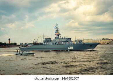 St. Petersburg, Russia - JULY 28, 2019: Naval parade in St. Petersburg. Celebrating Naval Day Fleet.
