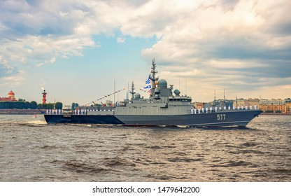 St. Petersburg, Russia - JULY 28, 2019: Naval parade on the Neva River in St. Petersburg. Day Celebration navy. Warships at the naval parade.