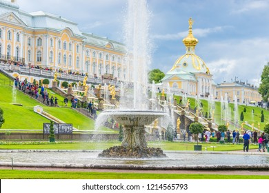 ST PETERSBURG, RUSSIA - July 3, 2018: Famous Grand Cascade Fountains in Peterhof Palace. The Peterhof palace included in the UNESCO's World Heritage List.