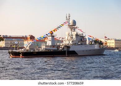 "ST. PETERSBURG, RUSSIA - JULY 31, 2016: Russian navy. Small anti-submarine ship ""Kazanets"" of Russian Baltic Sea Fleet on Neva river for Navy day celebration"