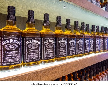 ST. PETERSBURG, RUSSIA - JULY 9, 2017: Bottles of Jack Daniels whiskey on sale in the Duty Free Store in Pulkovo International Airport.
