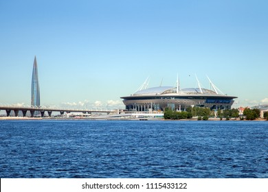 St. Petersburg, Russia - JUN 14, 2018:  Krestovsky Stadium, officially Saint-Petersburg Stadium 2018 FIFA World Cup, also called Zenit Arena and Lakhta Center