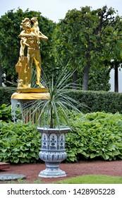St Petersburg, Russia - Jun 26, 2017: Fountains of the Lower Park in the Peterhof Palace, Peterhof, near Saint Petersburg, Russia
