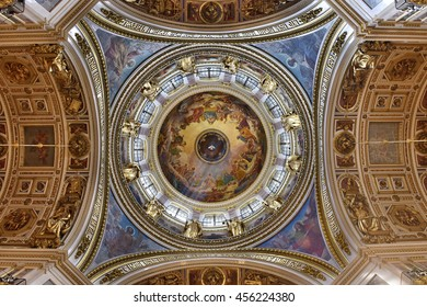 St. Petersburg, Russia - June 04, 2016: The dome of St. Isaac's Cathedral. The interior is decorated with gold.