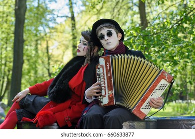 ST PETERSBURG, RUSSIA - June 04, 2017: Artists take part in street theatre performance during summer holiday in a city park