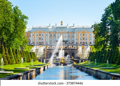 ST PETERSBURG, RUSSIA - JUNE 07, 2015: Grand Palace and the Grand cascade fountains in Petergof.