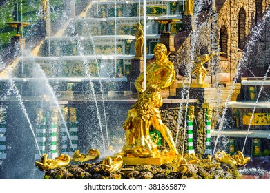 ST PETERSBURG, RUSSIA - JUNE 07, 2015: Samson tearing the lion's mouth fountain in Petergof, sculptors V.Simonov and N.Mikhailov. It's the main fountain of Grand Cascade in the State Museum Petergof.