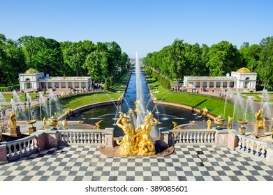ST PETERSBURG, RUSSIA - JUNE 07, 2015: Grand cascade fountains in Petergof, view from the terrace of the Grand Palace, St Petersburg, Russia