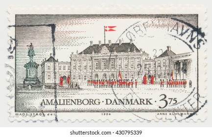 ST. PETERSBURG, RUSSIA - JUNE 1, 2016: A postmark printed in Denmark, shows Amalienborg, Copenhagen, circa 1994