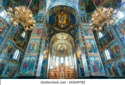 ST PETERSBURG, RUSSIA - JUNE 13, 2014: Inside the Church of the Savior on Spilled Blood (Cathedral of Resurrection of Christ). Luxurious mosaic interior of the Russian temple on Spilled Blood.