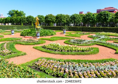 ST PETERSBURG, RUSSIA - JUNE 15, 2014: Garden in Peterhof Palace (Petrodvorets). The Peterhof Palace included in the UNESCO's World Heritage List.