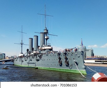 ST. PETERSBURG, RUSSIA - JUNE 16, 2017: Tourists on board of Aurora, 1900 Russian protected cruiser, currently moored as a museum ship in the city