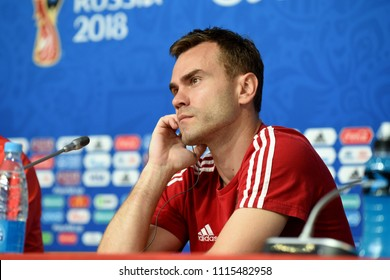 St Petersburg, Russia - June 18, 2018. Russian international goalkeeper Igor Akinfeev at a press conference in St Petersburg stadium ahead of World Cup 2018 match Russia vs Egypt.