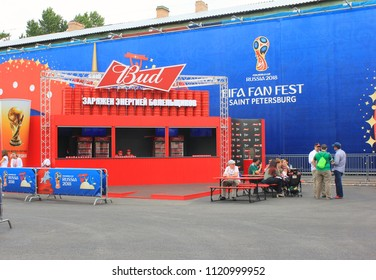 ST. PETERSBURG, RUSSIA - JUNE 18, 2018: Bud Beer Shop Window at FIFA Fan Fest for World Cup Russia 2018. Outdoor Football (Soccer) World Cup Fan Festival with Colorful Banner Decorations.