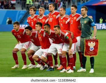 St Petersburg, Russia - June 19, 2018. National team of Russia before FIFA World Cup 2018 Russia vs Egypt