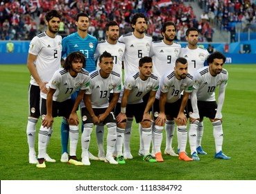 St Petersburg, Russia - June 19, 2018. National team of Egypt before FIFA World Cup 2018 Russia vs Egypt