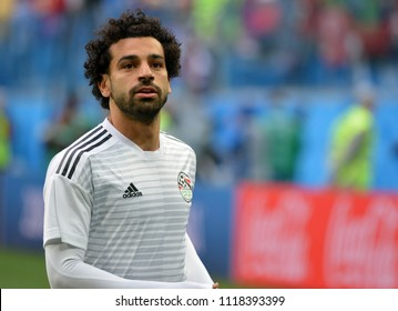 St Petersburg, Russia - June 19, 2018. Egyptian star Mohamed Salah before World Cup 2018 match Russia vs Egypt.
