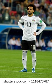 St Petersburg, Russia - June 19, 2018. Egyptian football star Mohamed Salah moment before he scored a penalty kick during World Cup 2018 match Russia vs Egypt.