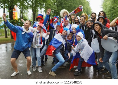 ST. PETERSBURG, RUSSIA - JUNE 19, 2018: Russian and Egyptian football fans make photo at Saint Petersburg Stadium before the FIFA World Cup 2018 match Russia vs Egypt. Russia won 3-1